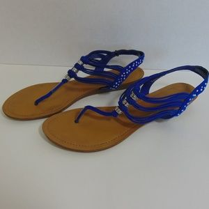 Madden Girl Shoes - Madden Girl Blue Rhinestone Embellished Sandal 9.5